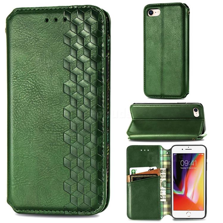 Ultra Slim Fashion Business Card Magnetic Automatic Suction Leather Flip Cover for iPhone SE 2020 - Green