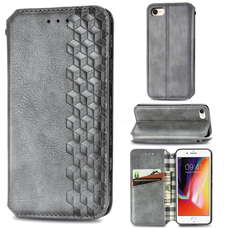Ultra Slim Fashion Business Card Magnetic Automatic Suction Leather Flip Cover for iPhone SE 2020 - Grey