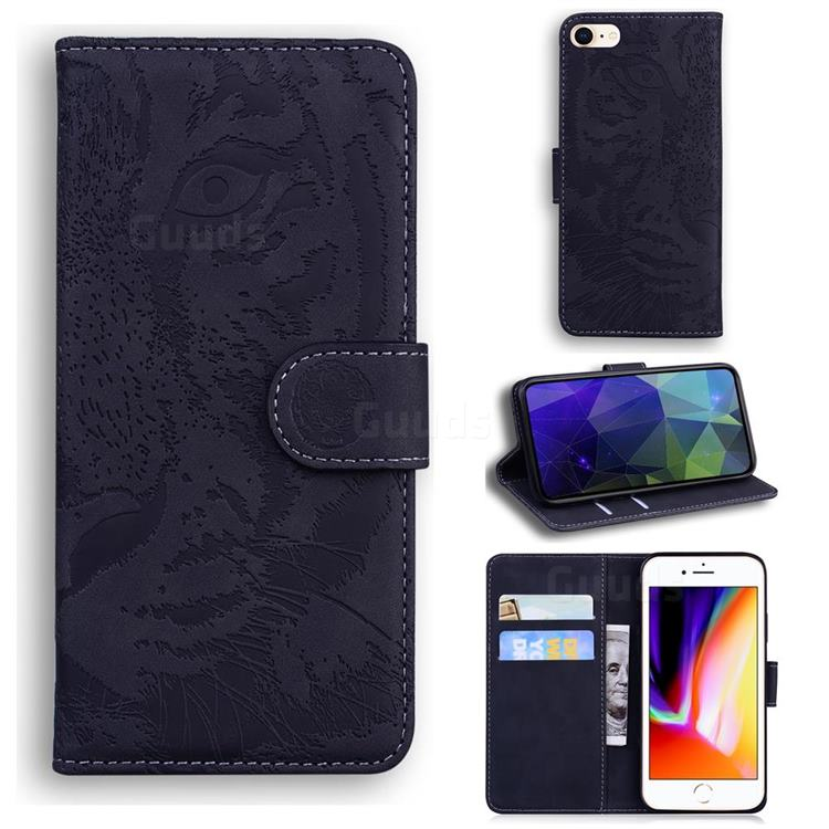 Intricate Embossing Tiger Face Leather Wallet Case for iPhone SE 2020 - Black
