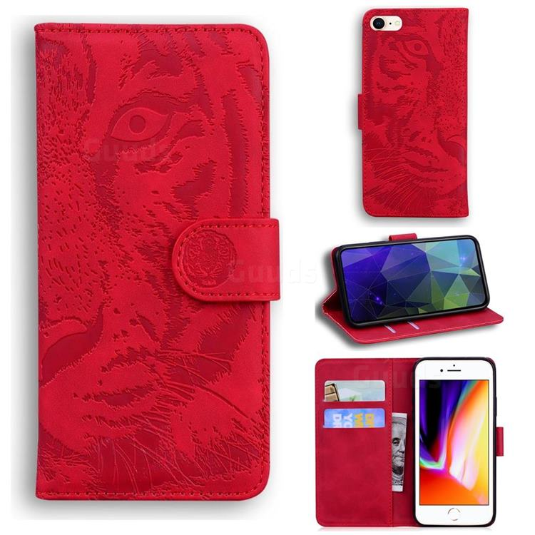 Intricate Embossing Tiger Face Leather Wallet Case for iPhone SE 2020 - Red