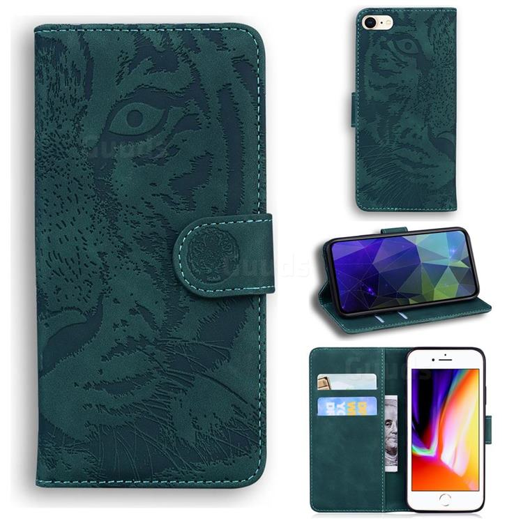 Intricate Embossing Tiger Face Leather Wallet Case for iPhone SE 2020 - Green
