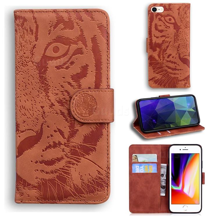 Intricate Embossing Tiger Face Leather Wallet Case for iPhone SE 2020 - Brown