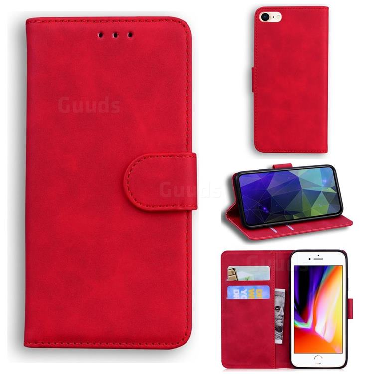 Retro Classic Skin Feel Leather Wallet Phone Case for iPhone SE 2020 - Red