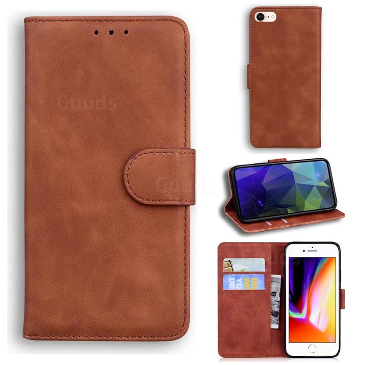 Retro Classic Skin Feel Leather Wallet Phone Case for iPhone SE 2020 - Brown