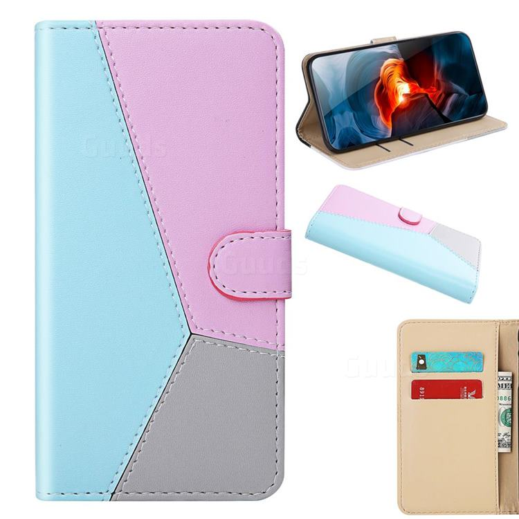 Tricolour Stitching Wallet Flip Cover for iPhone SE 2020 - Blue