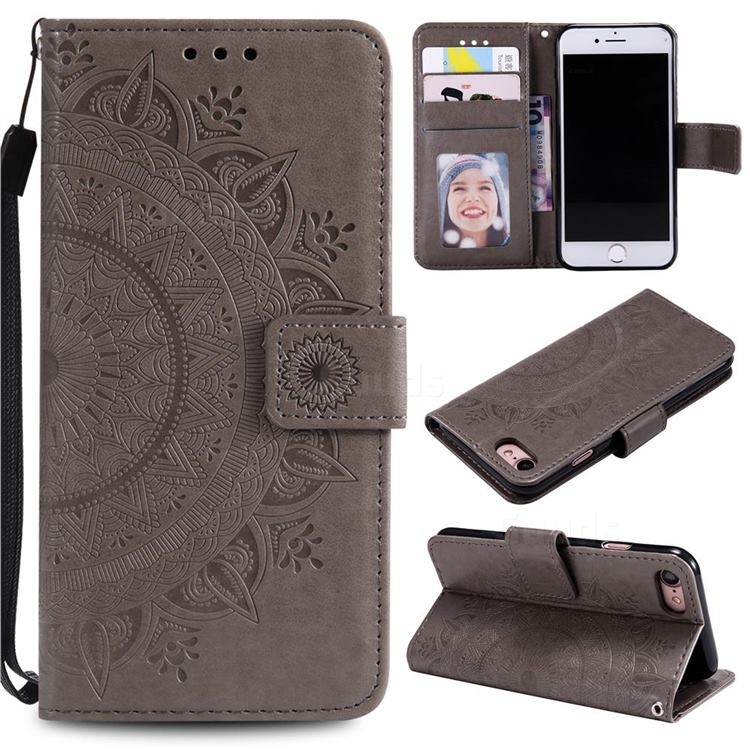 Intricate Embossing Datura Leather Wallet Case for iPhone SE 2020 - Gray