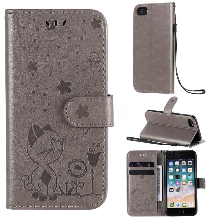 Embossing Bee and Cat Leather Wallet Case for iPhone SE 2020 - Gray