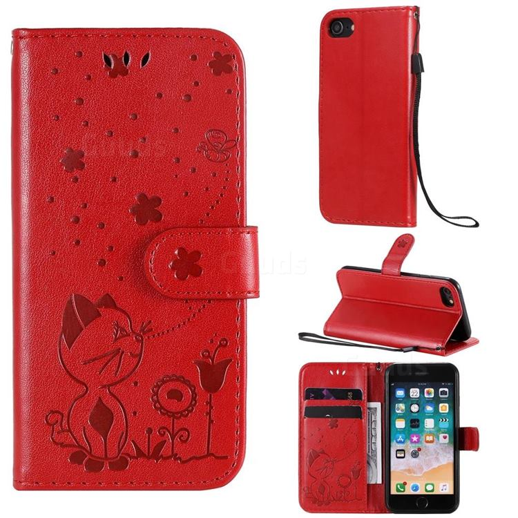Embossing Bee and Cat Leather Wallet Case for iPhone SE 2020 - Red