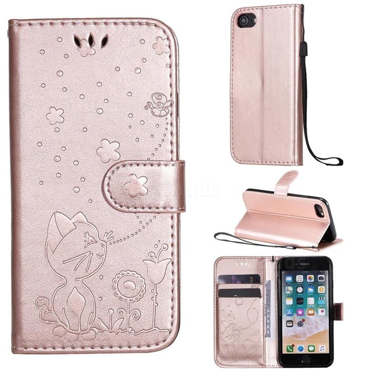 Embossing Bee and Cat Leather Wallet Case for iPhone SE 2020 - Rose Gold