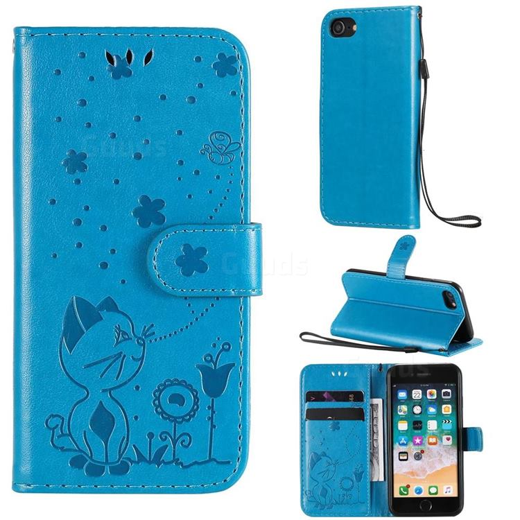 Embossing Bee and Cat Leather Wallet Case for iPhone SE 2020 - Blue