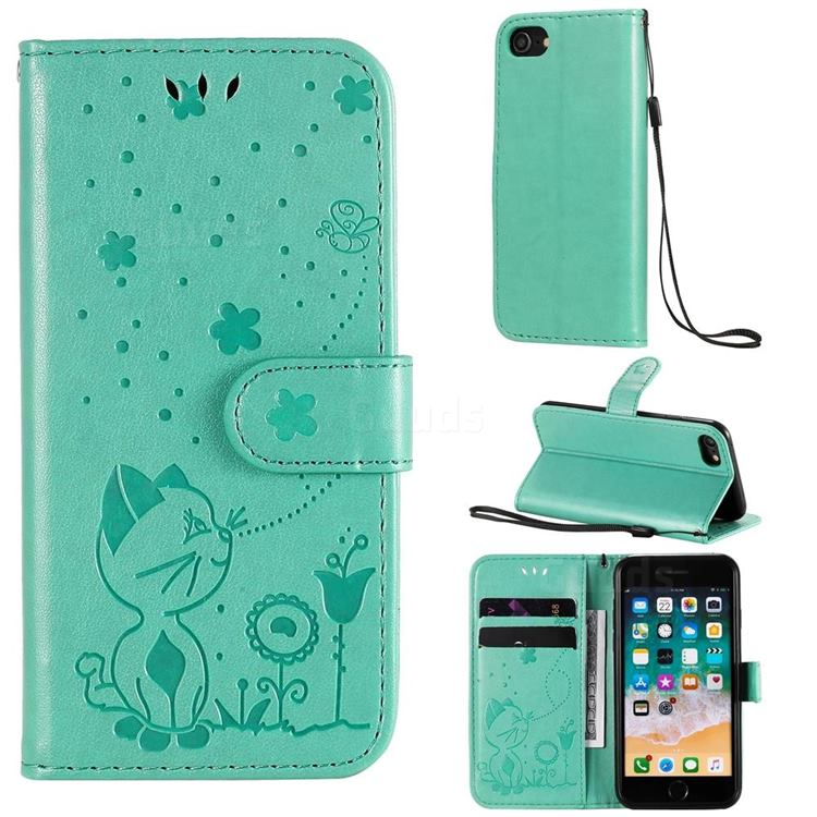 Embossing Bee and Cat Leather Wallet Case for iPhone SE 2020 - Green