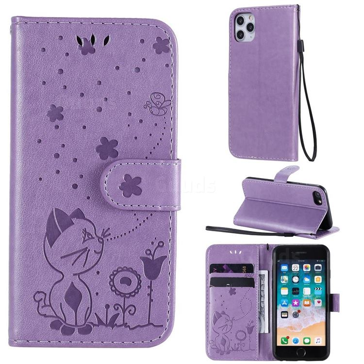 Embossing Bee and Cat Leather Wallet Case for iPhone SE 2020 - Purple