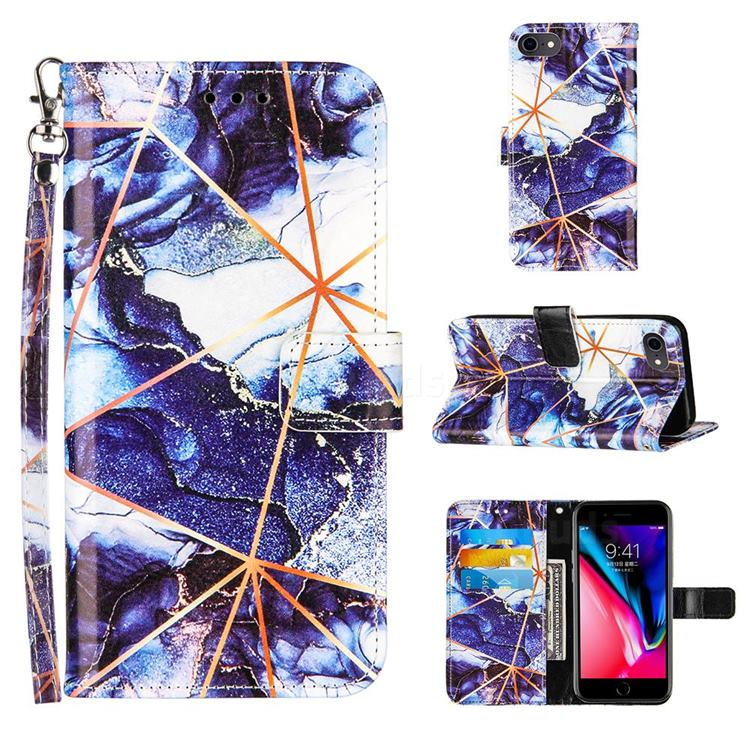 Starry Blue Stitching Color Marble Leather Wallet Case for iPhone SE 2020