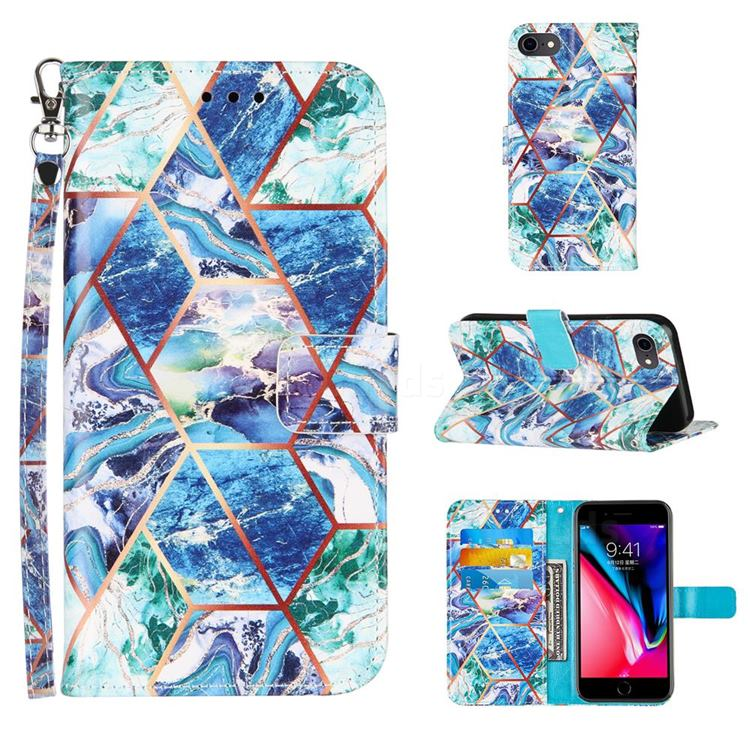 Green and Blue Stitching Color Marble Leather Wallet Case for iPhone SE 2020