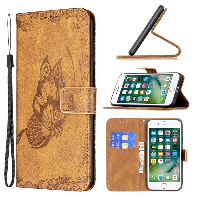 Binfen Color Imprint Vivid Butterfly Leather Wallet Case for iPhone SE 2020 - Brown