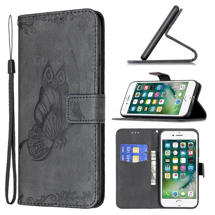 Binfen Color Imprint Vivid Butterfly Leather Wallet Case for iPhone SE 2020 - Black