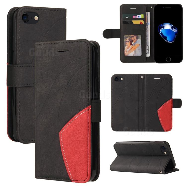 Luxury Two-color Stitching Leather Wallet Case Cover for iPhone SE 2020 - Black