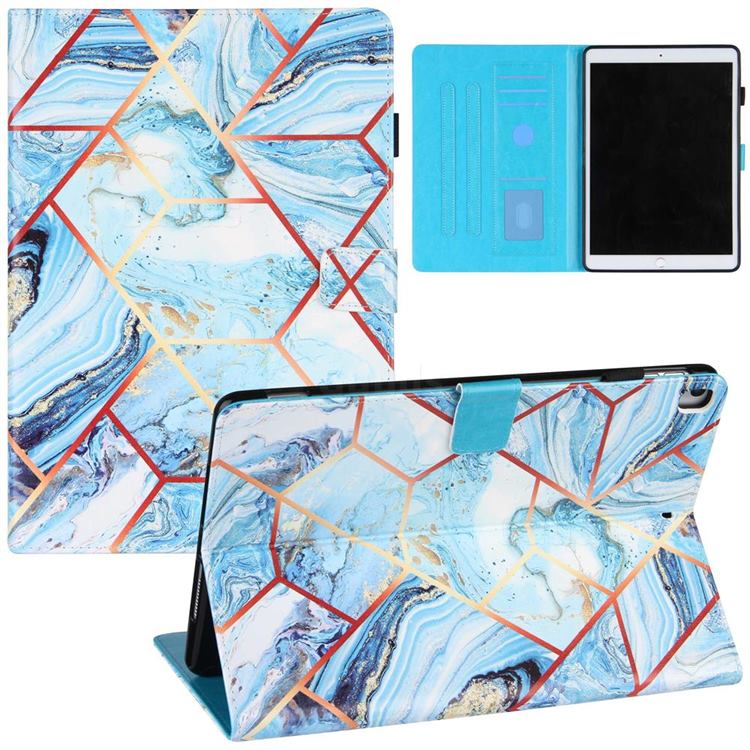 Lake Blue Stitching Color Marble Leather Flip Cover for Apple iPad 10.2 (2020)