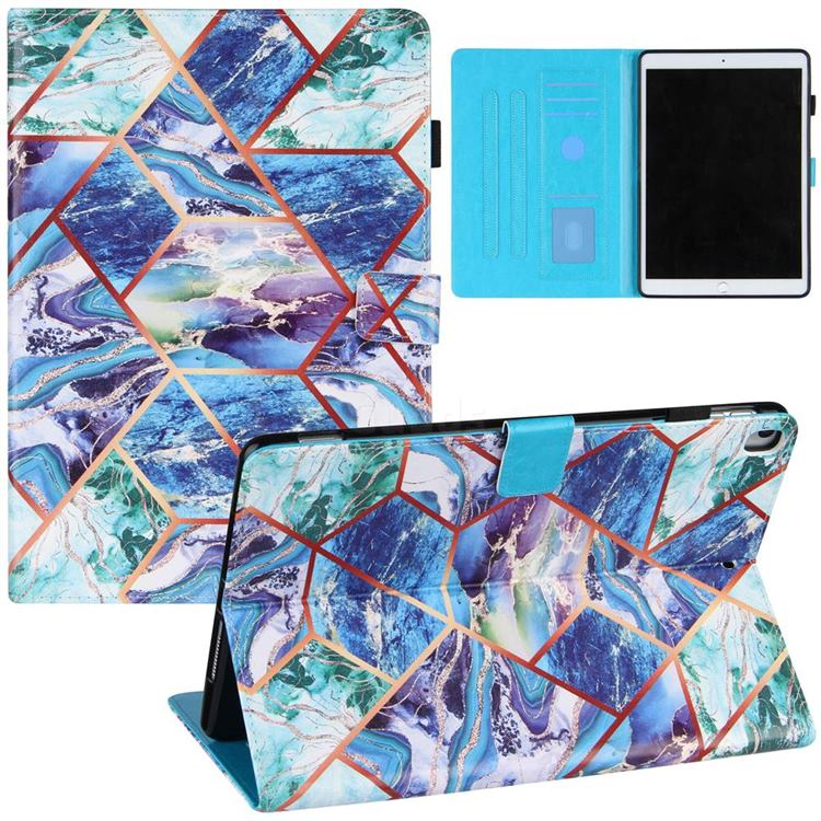 Green and Blue Stitching Color Marble Leather Flip Cover for Apple iPad 10.2 (2020)
