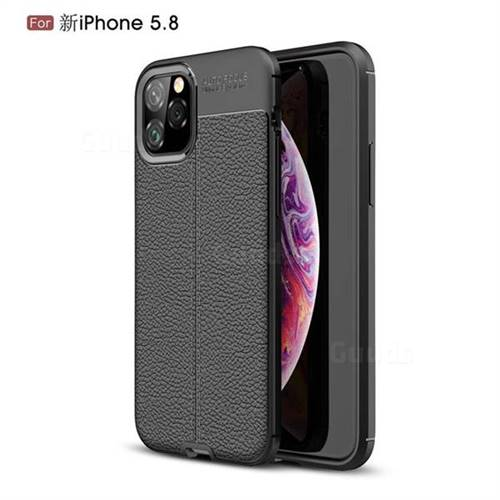 Luxury Auto Focus Litchi Texture Silicone TPU Back Cover for iPhone 11 Pro (5.8 inch) - Black