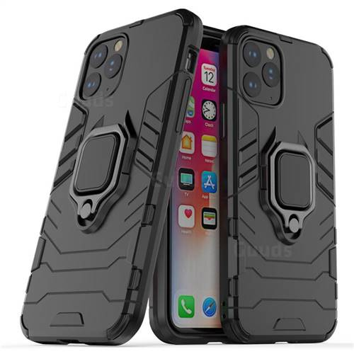 Black Panther Armor Metal Ring Grip Shockproof Dual Layer Rugged Hard Cover for iPhone 11 Pro (5.8 inch) - Black