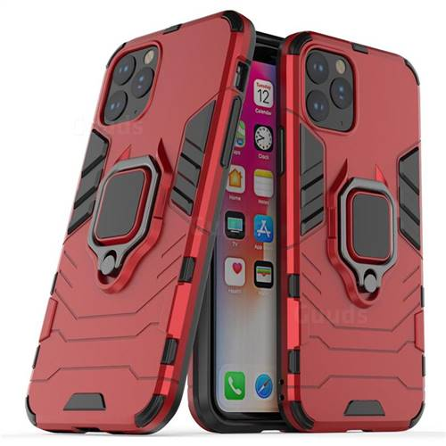 Black Panther Armor Metal Ring Grip Shockproof Dual Layer Rugged Hard Cover for iPhone 11 Pro (5.8 inch) - Red
