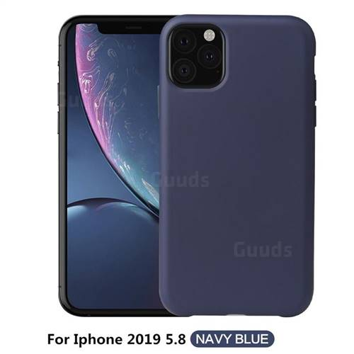 Howmak Slim Liquid Silicone Rubber Shockproof Phone Case Cover for iPhone 11 Pro (5.8 inch) - Midnight Blue
