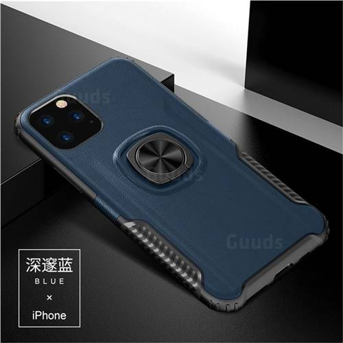 Knight Armor Anti Drop PC + Silicone Invisible Ring Holder Phone Cover for iPhone 11 Pro (5.8 inch) - Sapphire