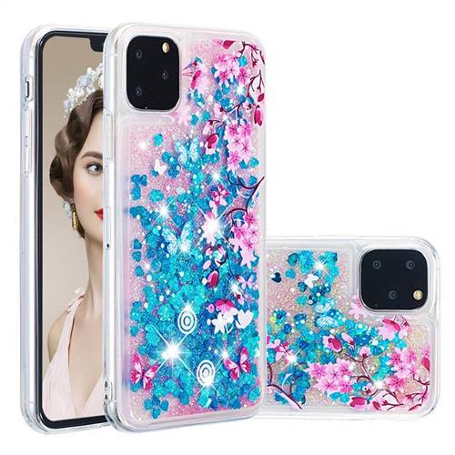 Blue Plum Blossom Dynamic Liquid Glitter Quicksand Soft TPU Case for iPhone 11 Pro (5.8 inch)