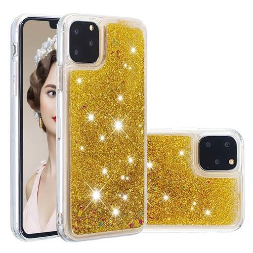 Dynamic Liquid Glitter Quicksand Sequins TPU Phone Case for iPhone 11 Pro (5.8 inch) - Golden