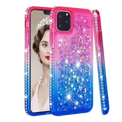 Diamond Frame Liquid Glitter Quicksand Sequins Phone Case for iPhone 11 Pro (5.8 inch) - Pink Blue