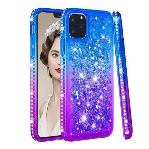 Diamond Frame Liquid Glitter Quicksand Sequins Phone Case for iPhone 11 Pro (5.8 inch) - Blue Purple
