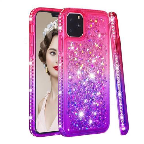 Diamond Frame Liquid Glitter Quicksand Sequins Phone Case for iPhone 11 Pro (5.8 inch) - Pink Purple