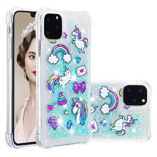 Fashion Unicorn Dynamic Liquid Glitter Sand Quicksand Star TPU Case for iPhone 11 Pro (5.8 inch)