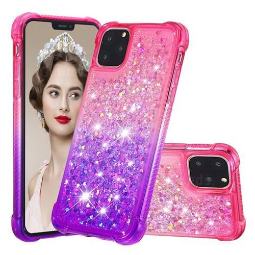 Rainbow Gradient Liquid Glitter Quicksand Sequins Phone Case for iPhone 11 Pro (5.8 inch) - Pink Purple