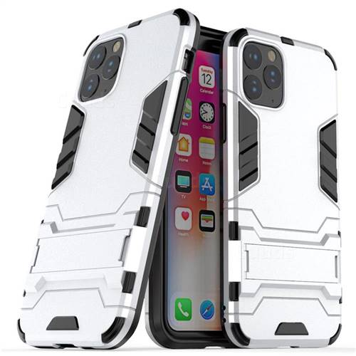 Armor Premium Tactical Grip Kickstand Shockproof Dual Layer Rugged Hard Cover for iPhone 11 Pro (5.8 inch) - Silver