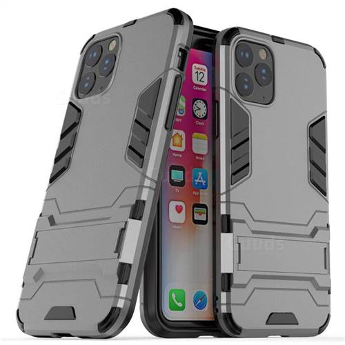 Armor Premium Tactical Grip Kickstand Shockproof Dual Layer Rugged Hard Cover for iPhone 11 Pro (5.8 inch) - Gray