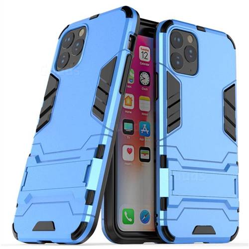 Armor Premium Tactical Grip Kickstand Shockproof Dual Layer Rugged Hard Cover for iPhone 11 Pro (5.8 inch) - Light Blue