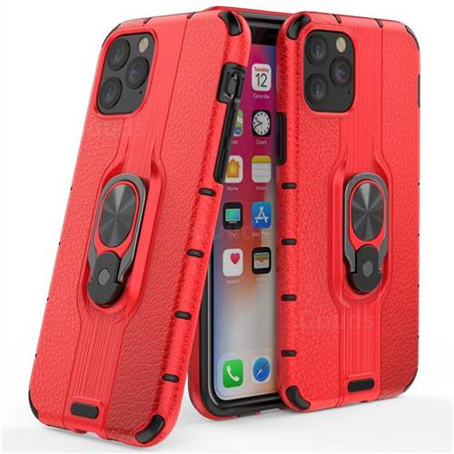 Alita Battle Angel Armor Metal Ring Grip Shockproof Dual Layer Rugged Hard Cover for iPhone 11 Pro (5.8 inch) - Red