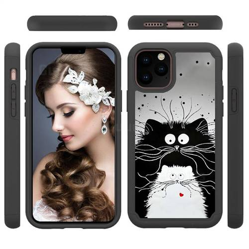 Black and White Cat Shock Absorbing Hybrid Defender Rugged Phone Case Cover for iPhone 11 Pro (5.8 inch)