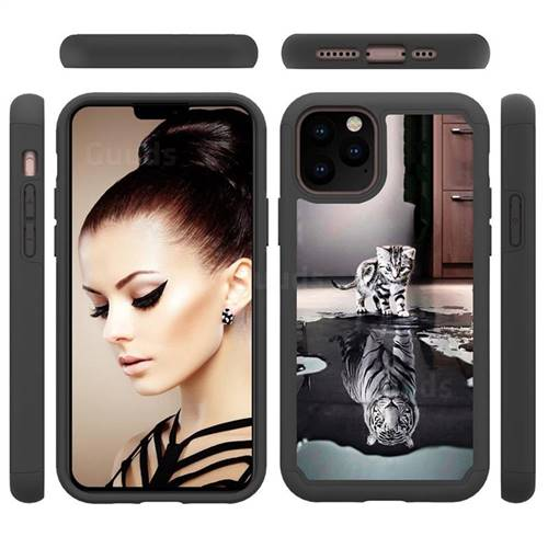 Cat and Tiger Shock Absorbing Hybrid Defender Rugged Phone Case Cover for iPhone 11 Pro (5.8 inch)