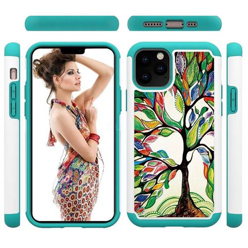 Multicolored Tree Shock Absorbing Hybrid Defender Rugged Phone Case Cover for iPhone 11 Pro (5.8 inch)