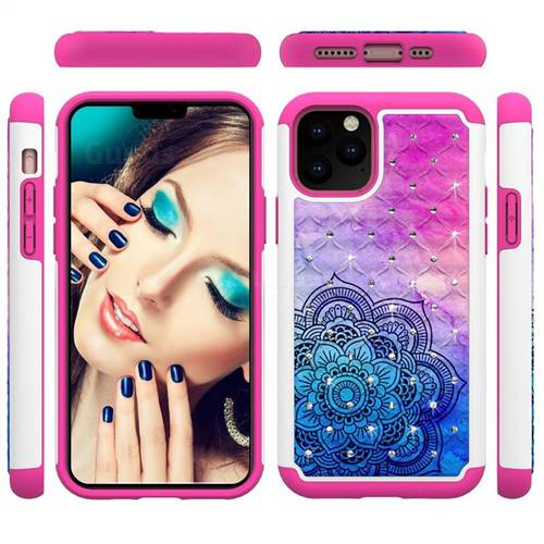 Colored Mandala Studded Rhinestone Bling Diamond Shock Absorbing Hybrid Defender Rugged Phone Case Cover for iPhone 11 Pro (5.8 inch)