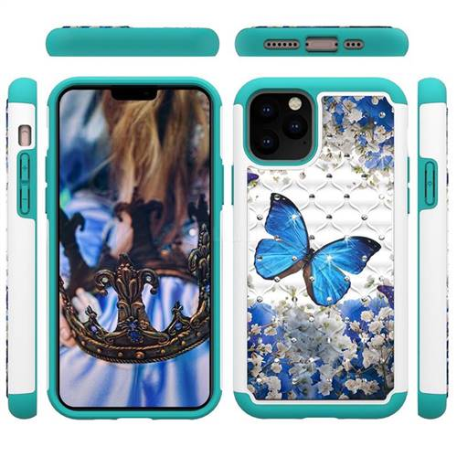 Flower Butterfly Studded Rhinestone Bling Diamond Shock Absorbing Hybrid Defender Rugged Phone Case Cover for iPhone 11 Pro (5.8 inch)
