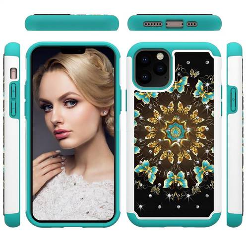Golden Butterflies Studded Rhinestone Bling Diamond Shock Absorbing Hybrid Defender Rugged Phone Case Cover for iPhone 11 Pro (5.8 inch)