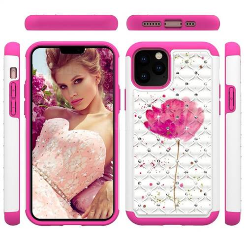 Watercolor Studded Rhinestone Bling Diamond Shock Absorbing Hybrid Defender Rugged Phone Case Cover for iPhone 11 Pro (5.8 inch)