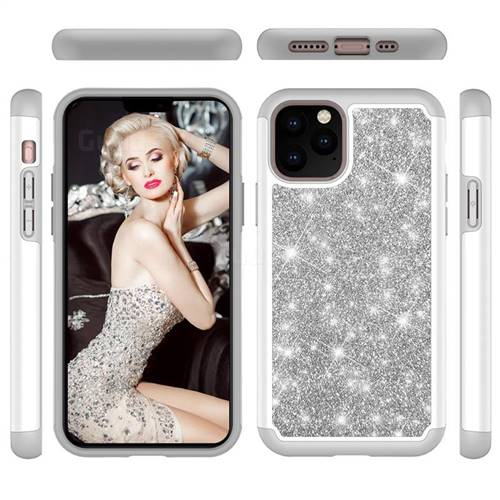 Glitter Rhinestone Bling Shock Absorbing Hybrid Defender Rugged Phone Case Cover for iPhone 11 Pro (5.8 inch) - Gray