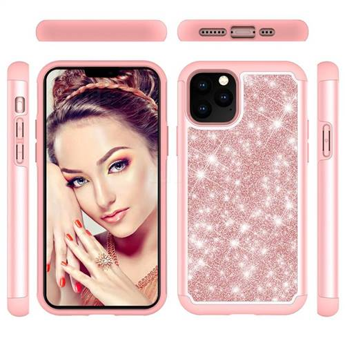 Glitter Rhinestone Bling Shock Absorbing Hybrid Defender Rugged Phone Case Cover for iPhone 11 Pro (5.8 inch) - Rose Gold