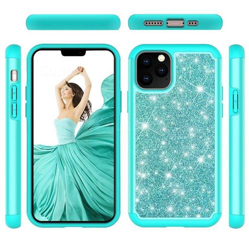 Glitter Rhinestone Bling Shock Absorbing Hybrid Defender Rugged Phone Case Cover for iPhone 11 Pro (5.8 inch) - Green