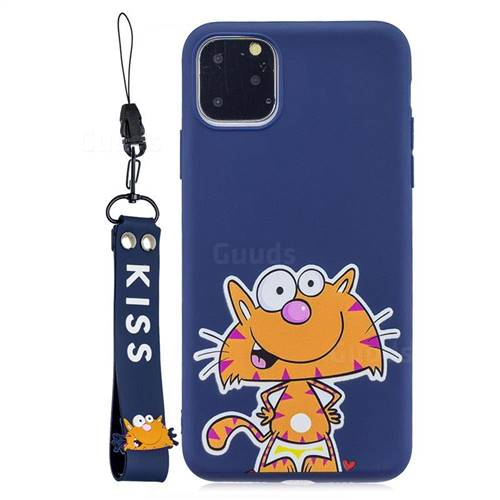 Blue Cute Cat Soft Kiss Candy Hand Strap Silicone Case for iPhone 11 Pro (5.8 inch)